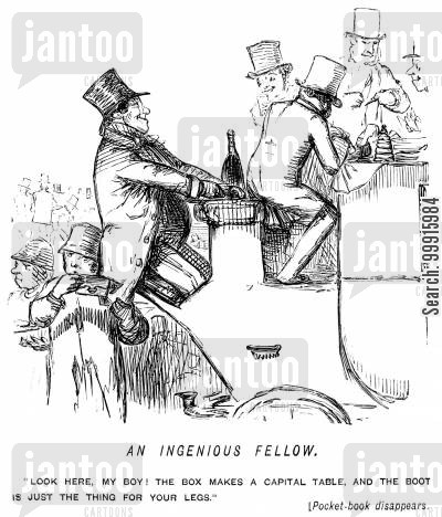 pickpocketing cartoon humor: Man sitting backwards on a carriage gets his pocket picked
