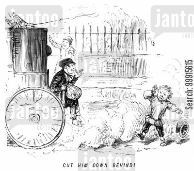 street cartoon humor: Carriage throws dust into a boy's face