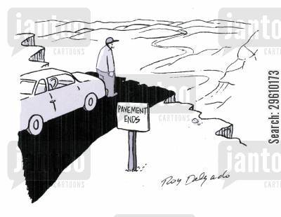 gravel cartoon humor: Pavement ends.