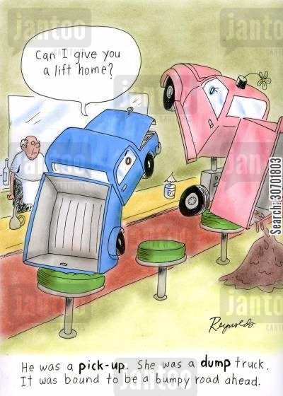 pick up truck cartoon humor: He was a pick-up. She was a dump truck. it was bound to be a bumpy road ahead.'