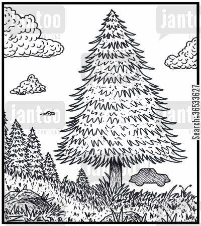 aroma cartoon humor: The Pine tree's version of a car air freshener.