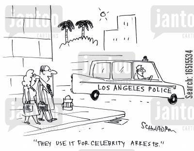 police car cartoon humor: 'They use it for celebrity arrests.'