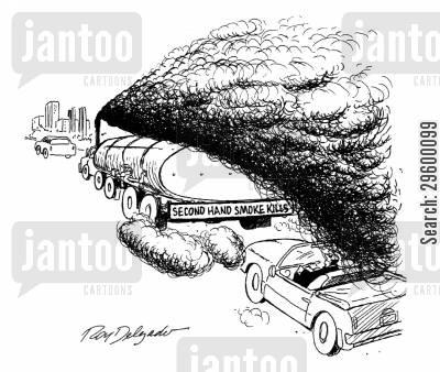 second hand smoke cartoon humor: Tanker with Sticker Reading 'Second Hand Smoke Kills.'