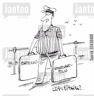 stock portfolio cartoon humor: Starboard-folio.