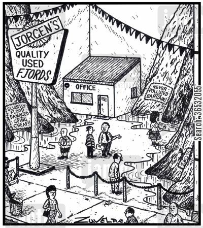 second hand car salesman cartoon humor: Jorgen's quality used Fjords.