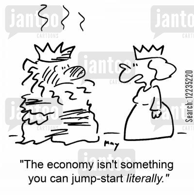 jumpstart cartoon humor: 'The economy isn't something you can jump-start literally.'