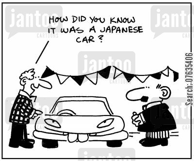 racial sterotypes cartoon humor: How did you know it was a Japanese car?