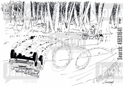 racing car cartoon humor: Rally Judges