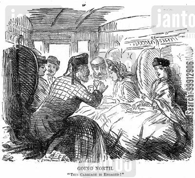 engaged cartoon humor: Young men and young ladies in a train carriage
