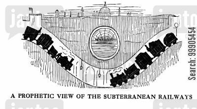 train line cartoon humor: A Prophetic View of the Subterranean Railways