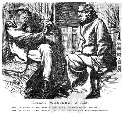 train line cartoon humor: Two men arguing on a train journey