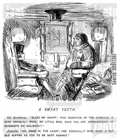 train crash cartoon humor: Portly old gentleman and youth in a train carriage.