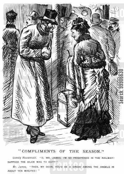 dangerous cartoon humor: A lady fearful of travelling on the train