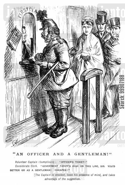 tariff cartoon humor: An officer purchasing a train ticket