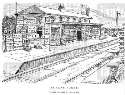 adverts cartoon humor: A railway station covered in advertising.