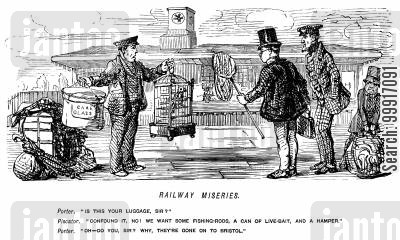 train station cartoon humor: Railway porter discovers that two men's luggage has gone on to Bristol
