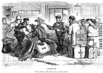 porters cartoon humor: Railway porter poking a man with a paintbrush at a crowded station