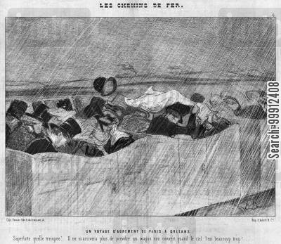 open carriage cartoon humor: The Railways - A pleasure trip from Paris to Orléans
