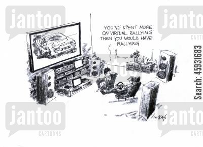 rally drivers cartoon humor: 'You've spent more on virtual rallying than you would have rallying.'