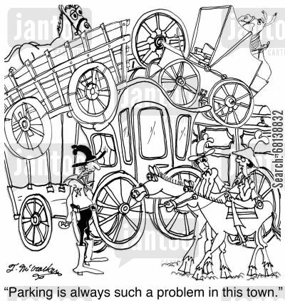frontiers cartoon humor: 'Parking is always such a problem in this town.'