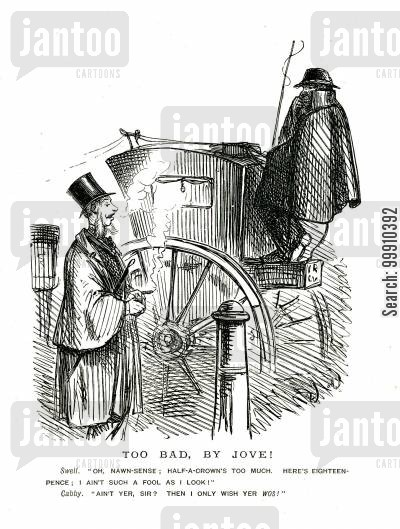 hansom cab cartoon humor: Cabby and passenger debate fare