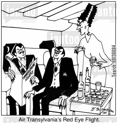 air stewardess cartoon humor: Air Transylvania's Red Eye Flight.