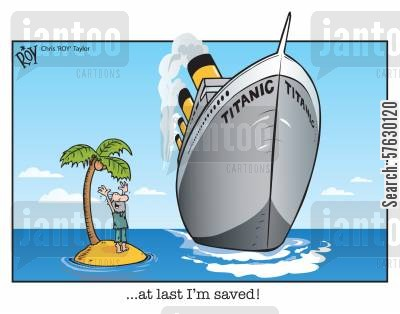 rescue ships cartoon humor: '...at last I'm saved!'