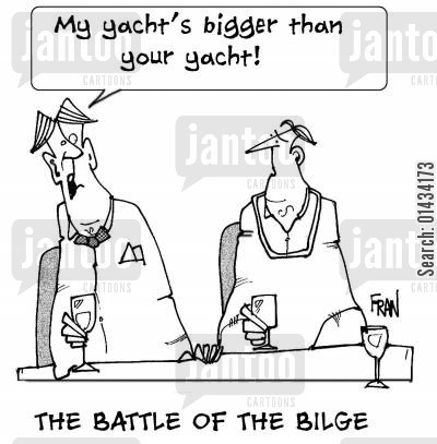 luxury lifestyle cartoon humor: THE BATTLE OF THE BILGE...My yacht's bigger than your yacht