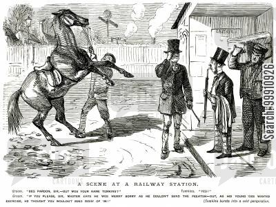 wild horse cartoon humor: Man met with a horse instead of a carriage at the railway station