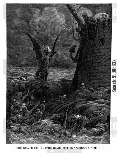 samuel coleridge cartoon humor: The Death Fires (The Rime of the Ancient Mariner).