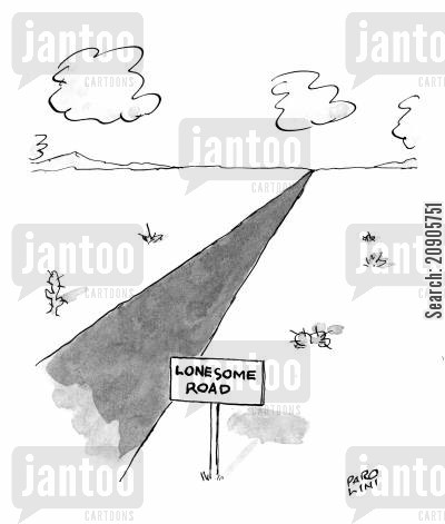 roadsign cartoon humor: Lonesome Road.