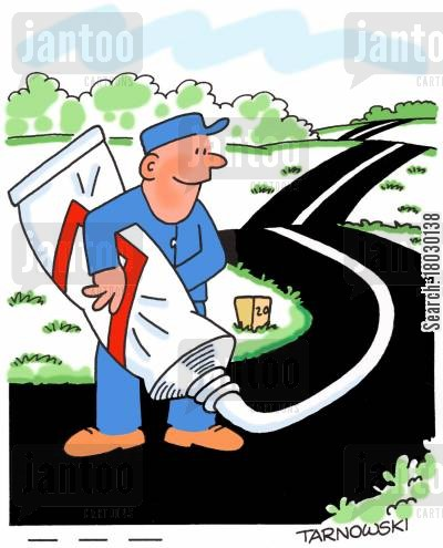 road repairs cartoon humor: Alternative road signing.