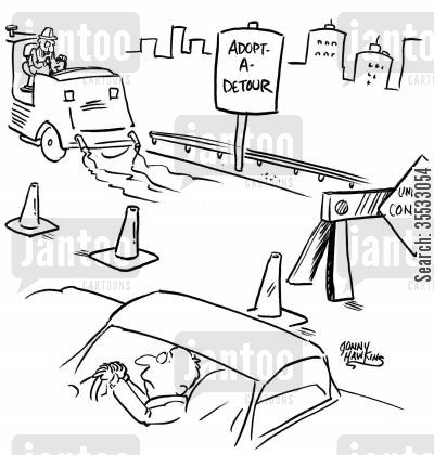 freeway signs cartoon humor: Driver in road construction zone sees a sign: 'Adopt-a-Detour'