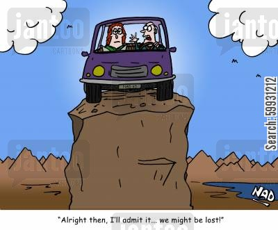 road trips cartoon humor: 'Alright then, I'll admit it... we might be lost!'