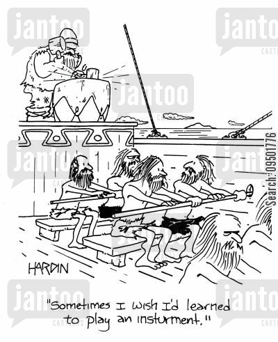 slave trade cartoon humor: 'Sometimes I wish I'd learned to play an instrument.'