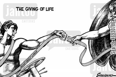 seatbelts cartoon humor: Seat belts - the giving of life,