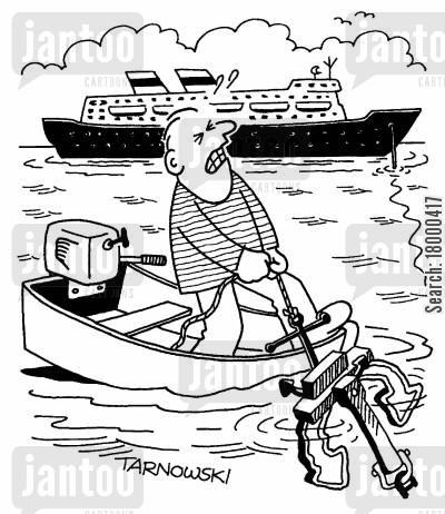 anchors cartoon humor: Small boat pulling up a ship's anchor.