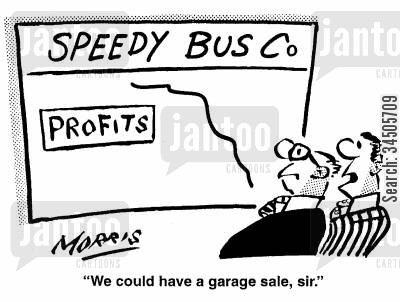 speedy bus companies cartoon humor: Speedy Bus Co - We could have a garage sale, sir.