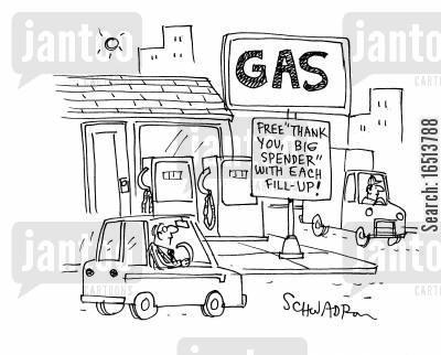 big spenders cartoon humor: Free thank you big spender with each fill up!