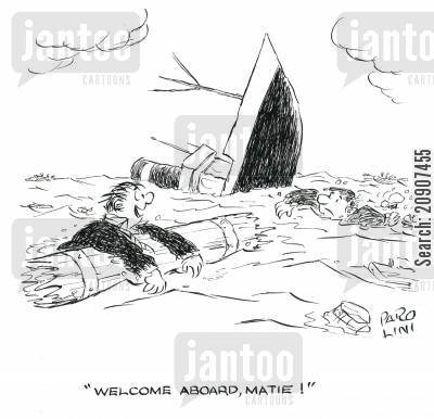 sank cartoon humor: 'Welcome Aboard, Matie!'