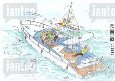sailing boat cartoon humor: Messing about in Boats.