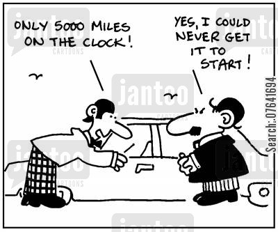 miles cartoon humor: 'Only 5000 miles on the clock.'