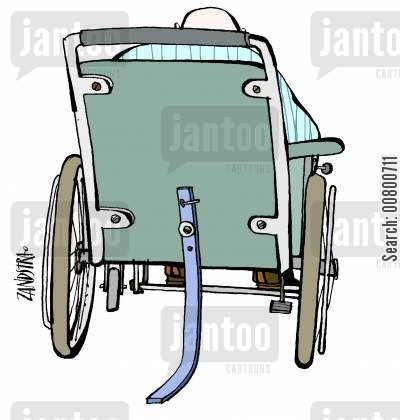 citizens cartoon humor: Wheelchair with kick-stand.