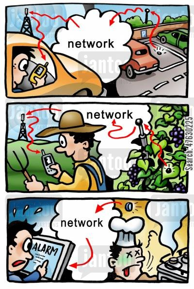 network cartoon humor: Network sensor.