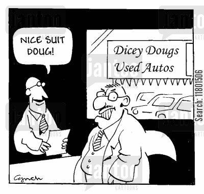 car lots cartoon humor: 'Nice suit, Doug!'