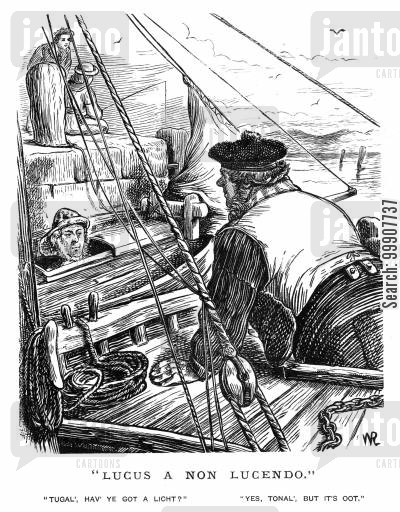 fishing boat cartoon humor: 'Lucas A Non Lucendo.'