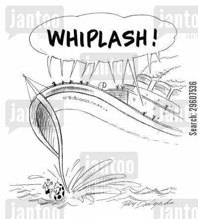 collisions cartoon humor: 'WHIPLASH!'