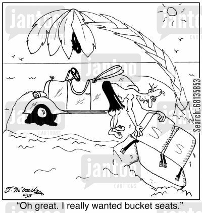 bucket seats cartoon humor: 'Oh great. I really wanted bucket seats.'