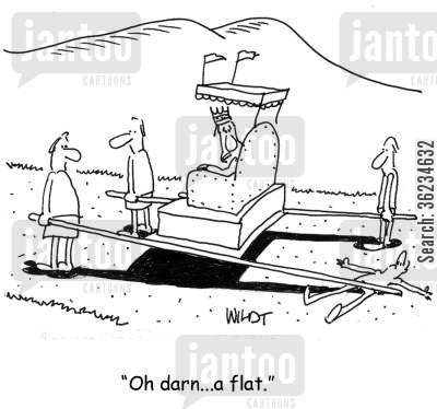 ancients cartoon humor: Oh darn, a flat.