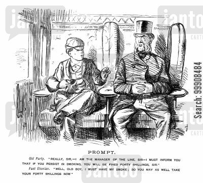 rule cartoon humor: Smoking on the train